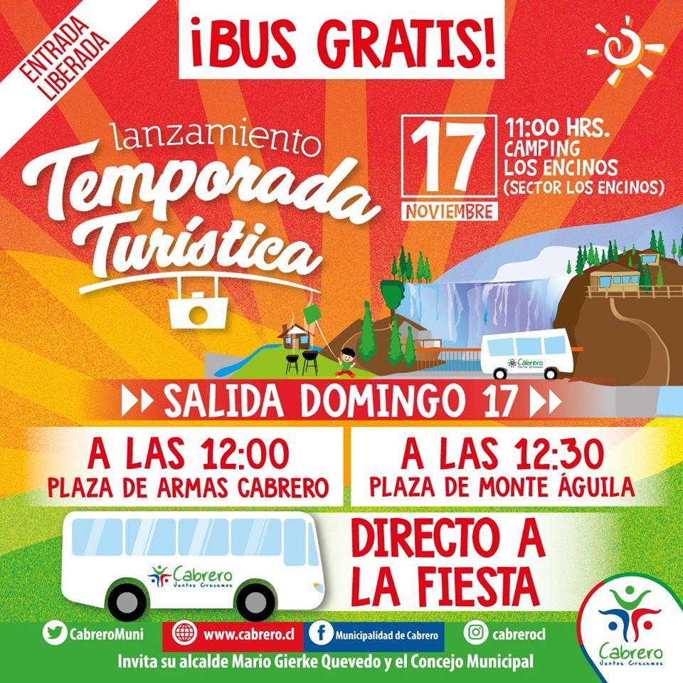 lanzamiento de la temporada turística totalmente gratuita, para realzar el Salto del Laja, principal atractivo de esta comuna, reconocido en la Región del Bío Bío y el país.